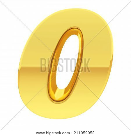 Gold Number 0 With Gradient Reflections Isolated On White