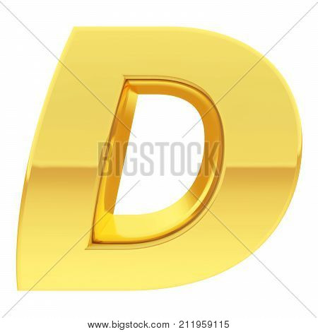 Gold Alphabet Symbol Letter D With Gradient Reflections Isolated On White