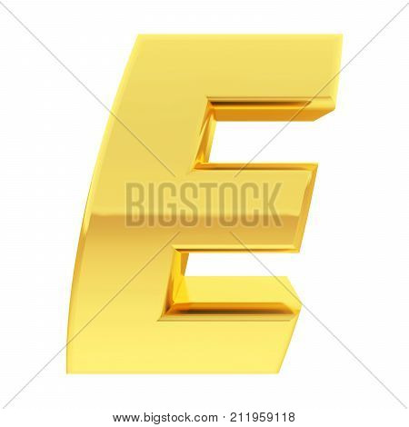 Gold Alphabet Symbol Letter E With Gradient Reflections Isolated On White