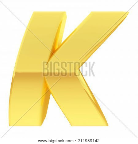 Gold Alphabet Symbol Letter K With Gradient Reflections Isolated On White