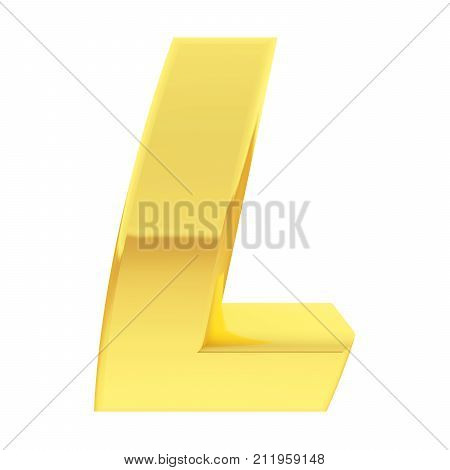 Gold Alphabet Symbol Letter L With Gradient Reflections Isolated On White