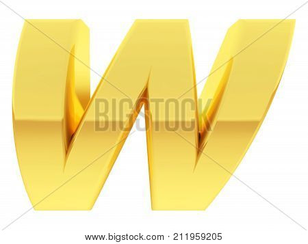 Gold Alphabet Symbol Letter W With Gradient Reflections Isolated On White