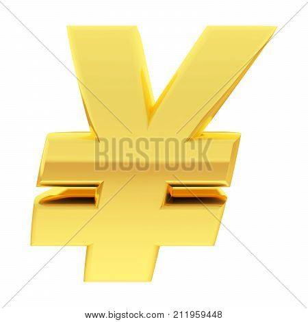 Gold Yen Sign With Gradient Reflections Isolated On White