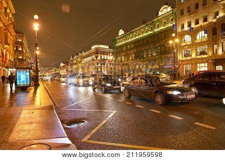 SAINT PETERSBURG, RUSSIA - CIRCA OCTOBER, 2017: Nevsky Prospect at night. Nevsky Prospect is the main street in the city of St. Petersburg, Russia.
