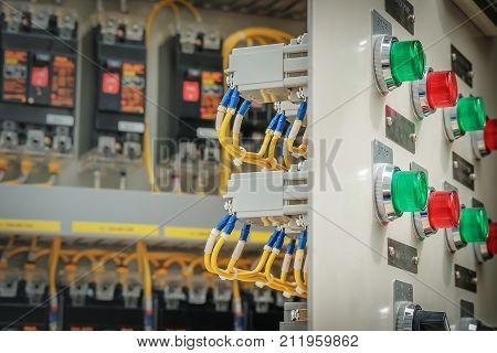 Circuit breaker and panel board control in substation room Control panel in factory on petrochemical industry plant