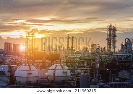 Petrochemical plant or oil and gas refinery industry on sky sunset background