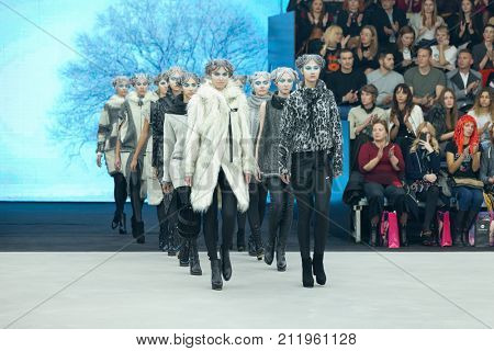 ZAGREB, CROATIA - OCTOBER 28, 2017: Fashion models wearing clothes designed by Marina Design and acessories designed by Marija Ivankovic at the 'Fashion.hr' fashion show