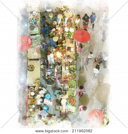 People shopping in local market in top view. Watercolor painting (retouch).