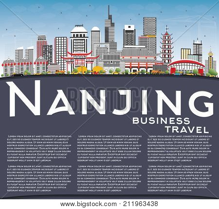 Nanjing China Skyline with Gray Buildings, Blue Sky and Copy Space. Business Travel and Tourism Illustration with Modern Architecture.