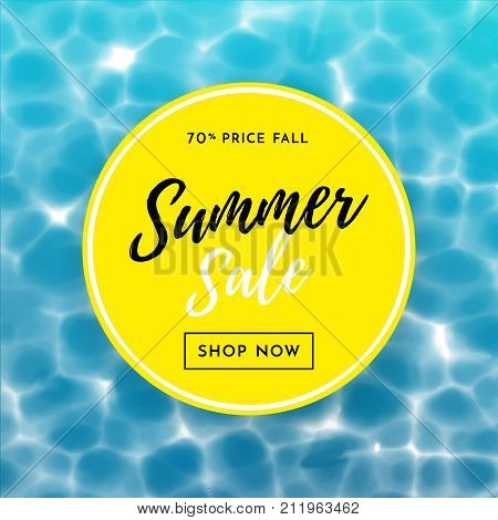 Summer Sale Poster For Discount Shopping Design Template Water Background
