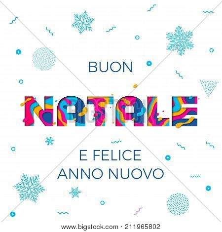 Buon Natale Merry Christmas Italian Greeting Card Vector Snowflake Paper Carving Background
