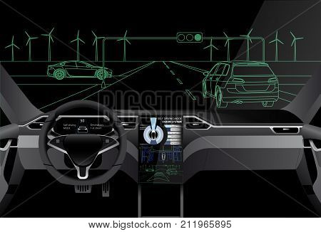 Self driving car on a road. Artificial intelligence of vehicle. Vector illustration EPS 10