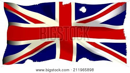 The British Union Flag or Union Jackthat is damaged by cannon and musket ball fire.