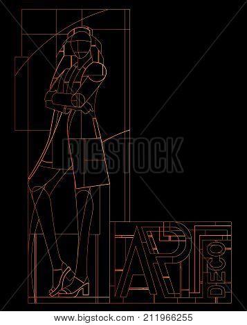 Art-deco girl. Retro party invitation design. Art-deco vector illustration