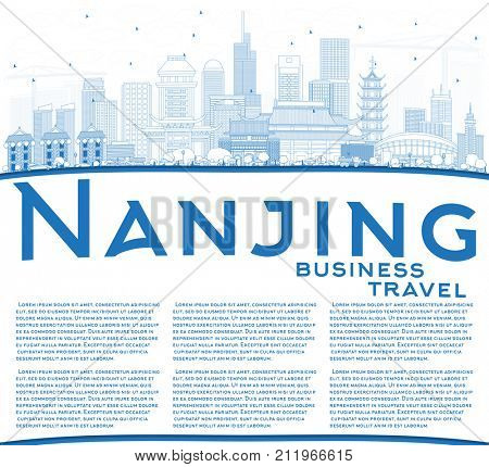 Outline Nanjing China Skyline with Blue Buildings and Copy Space. Business Travel and Tourism Illustration with Modern Architecture.