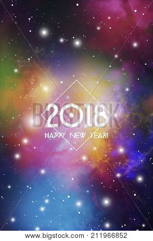 Astrological New Year 2018 Greeting Card or Calendar Cover on Cosmic Background. Sacred Geometry Christmas Vector Design with Colorful Space Backdrop.