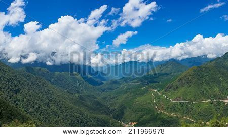 Picturesque Tropical Mountain Panorama Landscape