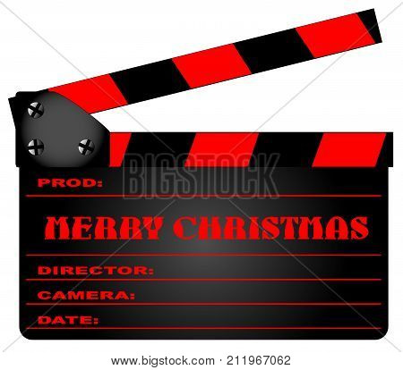 A typical movie clapperboard with the legend MERY CHRISTMAS in red isolated on white.