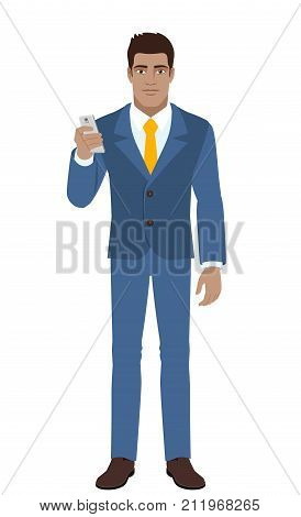 Businessman using mobile phone. Full length portrait of Black Business Man in a flat style. Vector illustration.