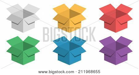 Set 3D BOX festive colorful cardboard box packaging for gifts, vector collection for delivery, shipping, warehouse, isolated on white background