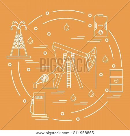 Cute Vector Illustration Of The Equipment For Oil Production, Canister Of Gasoline, Barrels With Oil