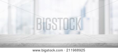White Stone table top and blur glass window wall building banner background with vintage filter - can used for display or montage your products.