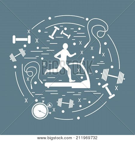 Vector Illustration Of The Man Jogging On A Treadmill And Different Kinds Of Sports Equipment Arrang