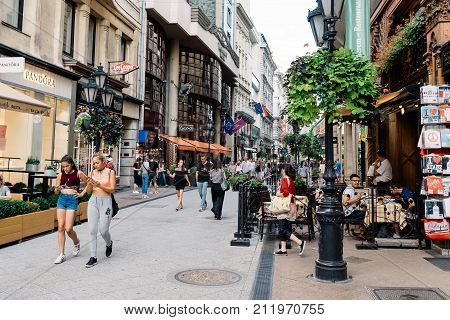 Budapest, Hungary - August 14, 2017: Unidentified people in Vaci Street in Budapest. It is one of the main pedestrian streets of central Budapest. It features a large number of restaurants and shops