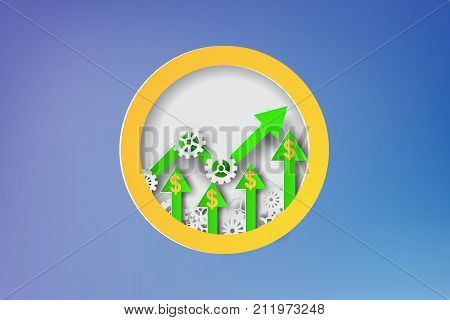 Paper art of strategy with design business concepts gears dollar sign arrow vector