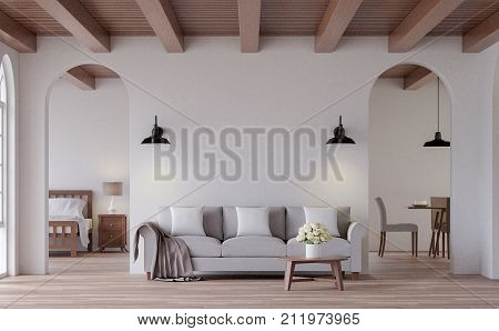 Vintage living 3d rendering image.The Rooms have wooden floors and ceilings with white walls and arch windows. Look through the door to see the bedroom and dining room behind.