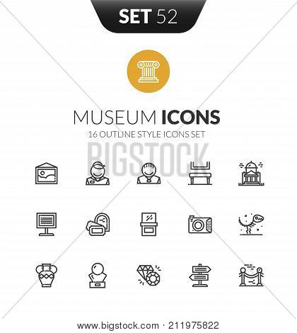 Outline black icons set in thin modern design style, flat line stroke vector symbols - museum collection