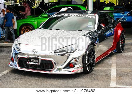 KUALA LUMPUR MALAYSIA - OCTOBER 28 2017. A toyota scion sport edition been shown at Velocity Motor Show 2017. Annual Motor show held at Bukit Jalil Malaysia.