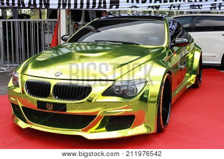 KUALA LUMPUR MALAYSIA - OCTOBER 28 2017. A BMW sport edition been shown at Velocity Motor Show 2017. Annual Motor show held at Bukit Jalil Malaysia.