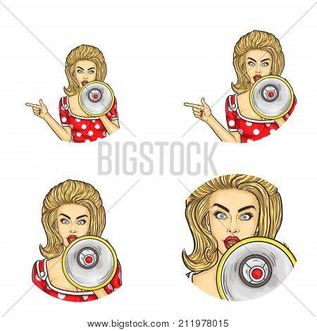 Set of vector pop art round avatar icons for users of social networking, blogs, profile icons. Young blonde girl in glasses is saying something in the loudspeaker and shows somewhere with her index fingers