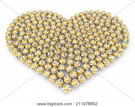 golden lottery balls stack in heart shape. with dept of field effect. 3d illustration. suitable for luck, succes and lottery game themes.