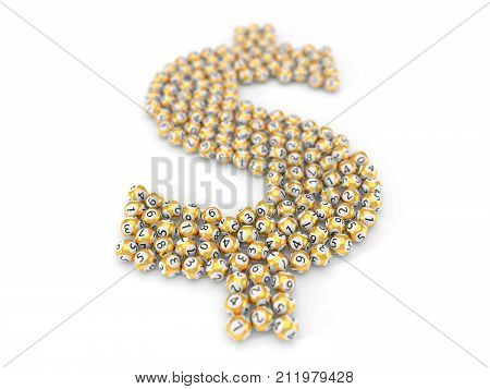 golden lottery balls stack in dollar sign shape. with dept of field effect. 3d illustration. suitable for luck, succes and lottery game themes.
