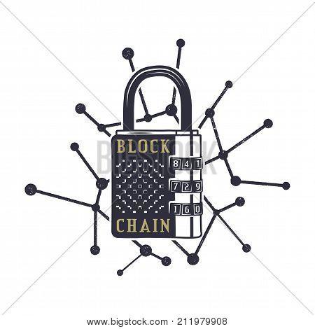 Blockchain emblem concept. Digital assets logo. Vintage hand drawn lock and block chain web. Monochrome design. Technology badge. Stock vector illustration isolated on white background.