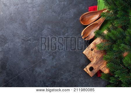 Christmas cooking table and utensils. Top view with copy space for your text