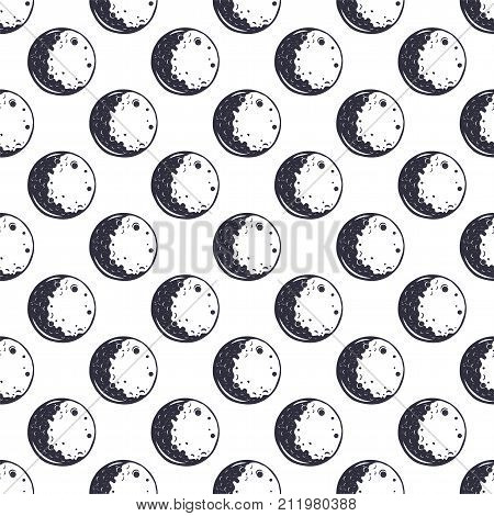 Moon seamless pattern. Monochrome. Vintage hand drawn space wallpaper design. Space theme, symbols. Stock vector illustration isolated on white background.