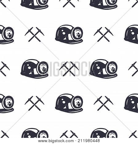 Crypto Mining concept seamless pattern, pickaxe and bitcoin wallpaper, crypto concept. Digital assets background. Vintage han drawn monochrome design. Stock vector illustration isolated on white.