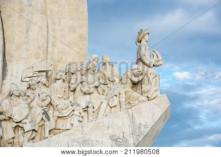 Monument to the Discoveries is a monument on the bank of the Tagus River estuary in Lisbon Portugal. The monument celebrates the Portuguese Age of Discovery (or Age of Exploration) during the 15th and 16th centuries poster