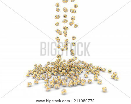 falling golden lottery balls with dept of field effect. 3d illustration. suitable for luck, succes and lottery game themes.