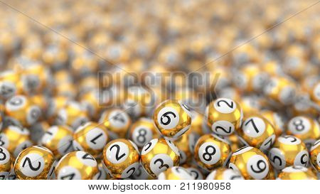 golden lottery balls stack background with hard dept of field effect. 3d illustration. suitable for luck, succes and lottery game themes.