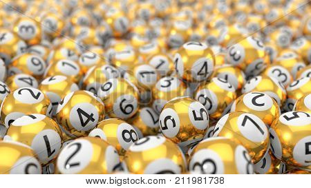 golden lottery balls stack background with dept of field effect. 3d illustration. suitable for luck, succes and lottery game themes.