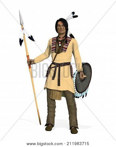 3D render of an Native American Indian Cheyenne Warrior with spear and shield.