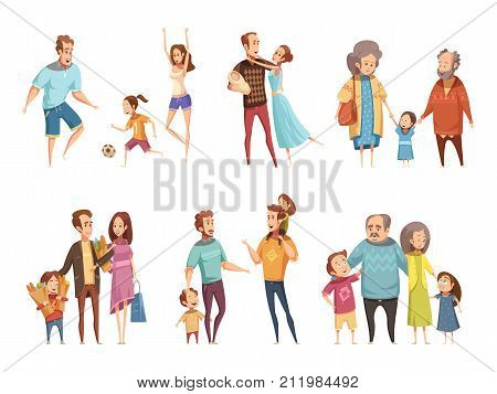 Family cartoon set with parents grandparents and children isolated vector illustration