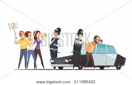 Protesting crowd and police design concept with group of emotional people and protester apprehended by officers cartoon vector illustration