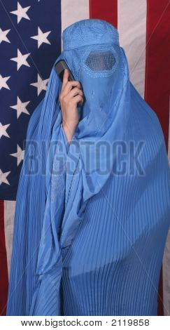 Woman From Afghanistan On Cell Phone