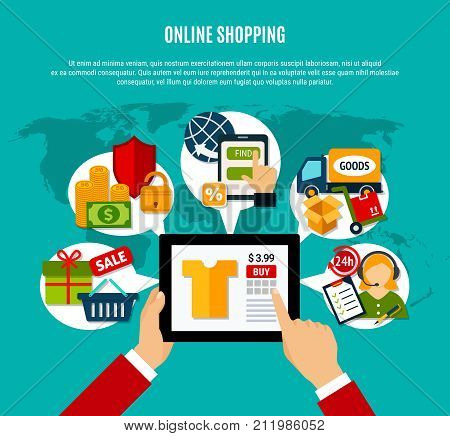 Internet shopping flat composition with tablet computer, 24h service, secure payment, delivery on turquoise background vector illustration