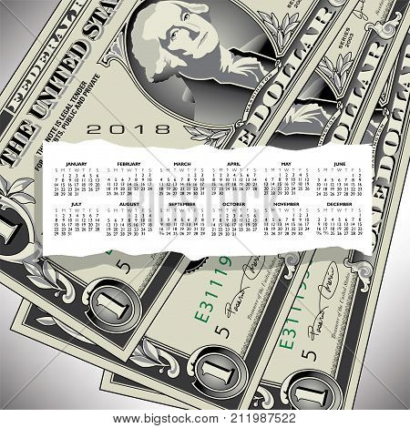 A 2018 calendar with one dollar bills as background